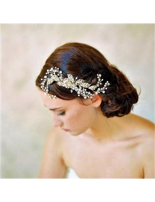 Peigne à cheveux à feuillage de perles