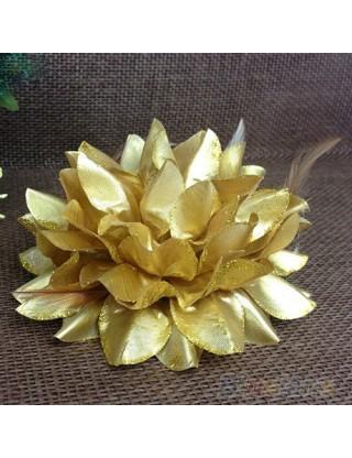 Elastique pour cheveux fleur et plumes doré