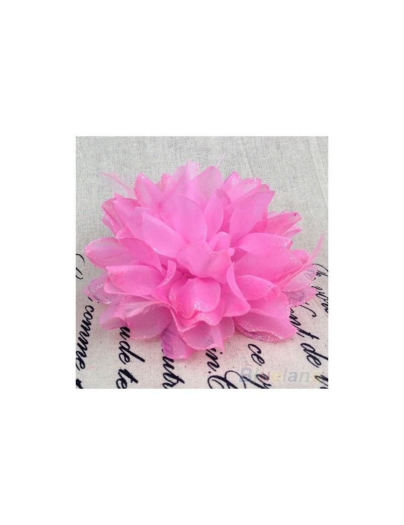 Elastique pour cheveux fleur et plumes rose