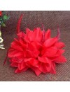 Elastique pour cheveux fleur et plumes rouge