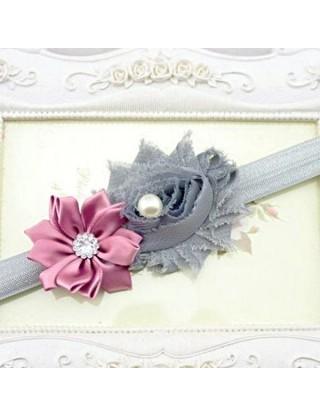 Bandeau double fleur gris & vieux rose