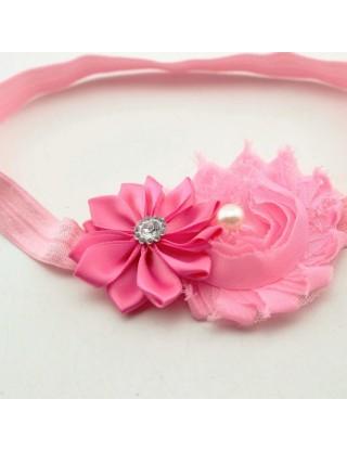 Bandeau double fleur rose...