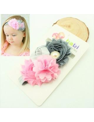 Bandeau classique fleurs rose/gris et perle
