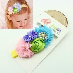 Bandeau multi-color fleurs & perles
