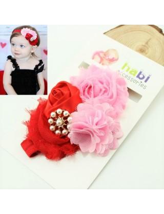 Bandeau romantique fleurs rouge/rose et perles