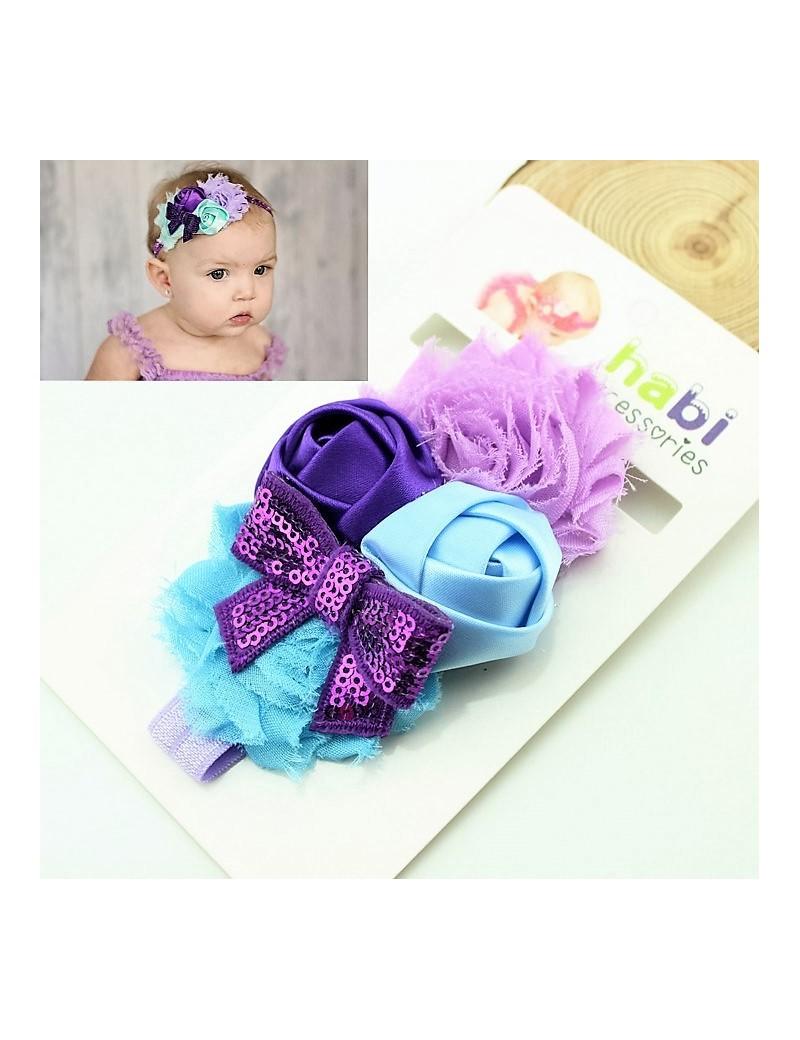 Bandeau de fleurs & noeud violet