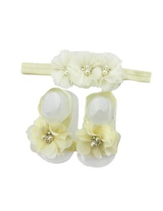 Bandeau et chevillère romantiques à fleur ivoire et perle