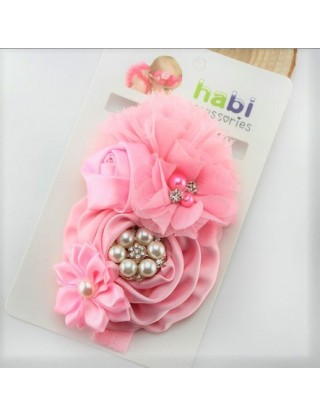 Bandeau fleurs de satin et perles rose