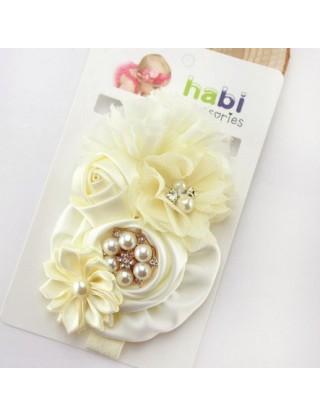 Bandeau fleurs de satin et perles ivoire