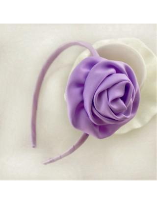 Serre tête en satin fleur mauve