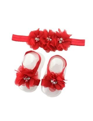 Bandeau et chevillère romantiques à fleur rouge et perle