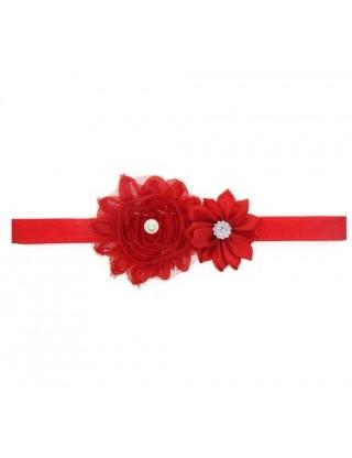 Bandeau double fleur, perle et strass rouge