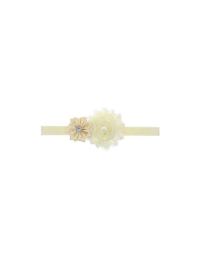 Bandeau double fleur, perle et strass ivoire