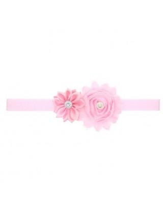 Bandeau romantique double fleur, perle et strass rose dragée