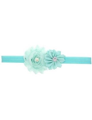 Bandeau double fleur, perle et strass bleu ciel