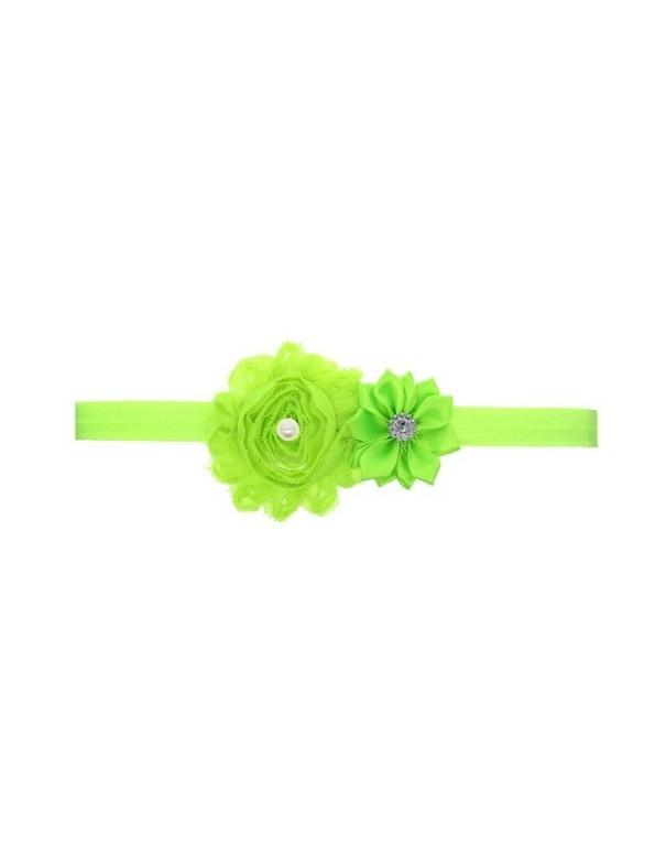 Bandeau double fleur, perle et strass vert anis