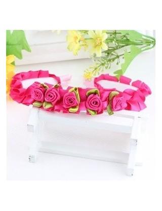 Serre tête petites roses fuchsia