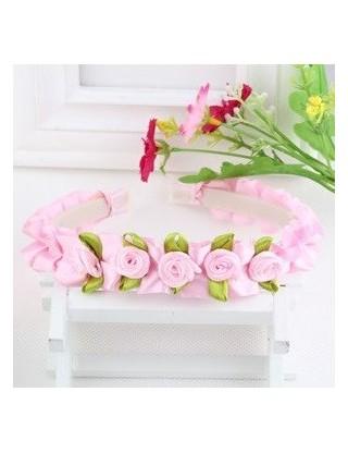 Serre tête petites roses rose