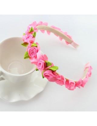Serre tête petites roses rose corail