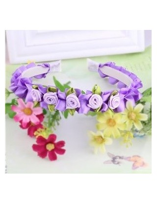 Serre tête petites roses violet