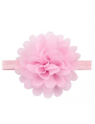 Bandeau mousseline grande fleur rose dragée