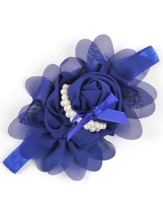 Bandeau fleur mousseline et perles nacrées bleu marine