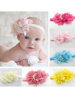 Bandeau fleur mousseline et perles nacrées bleu ciel