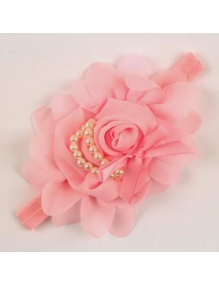 Bandeau romantique fleur mousseline et perles nacrées rose dragées