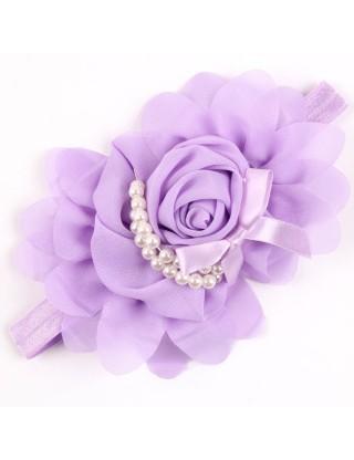 Bandeau fleur mousseline et perles nacrées mauve
