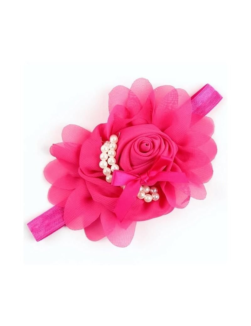 Bandeau fleur mousseline et perles nacrées fuchsia