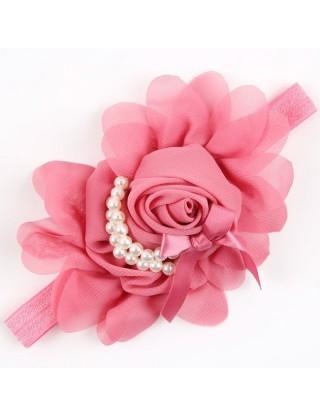 Bandeau fleur mousseline et perles nacrées vieux rose