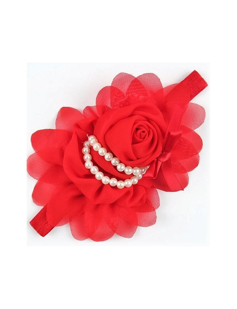 Bandeau fleur mousseline et perles nacrées rouge