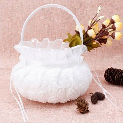 Panier de mariage fleurs blanches & noeud