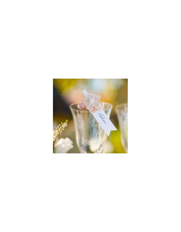 Pinces fleurs lin et ficelle nature lot de 6