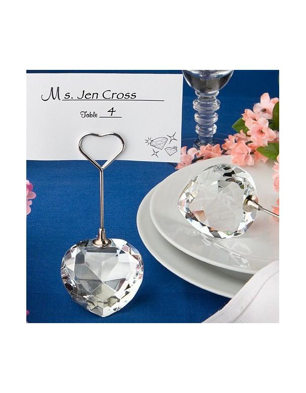 Deux marque-places ou tables coeur de Crystal (x2)