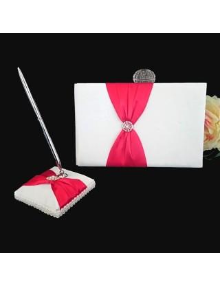 Livre d'or et porte-stylo rouge et blanc en satin