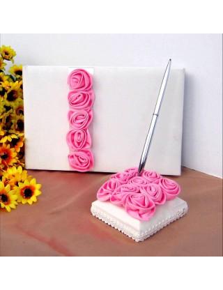 Livre d'or et porte stylo roses roses