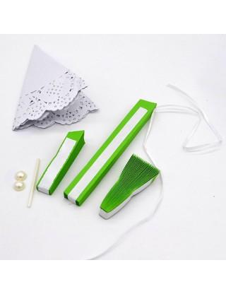 Rosace en papier avec napperon de dentelle vert