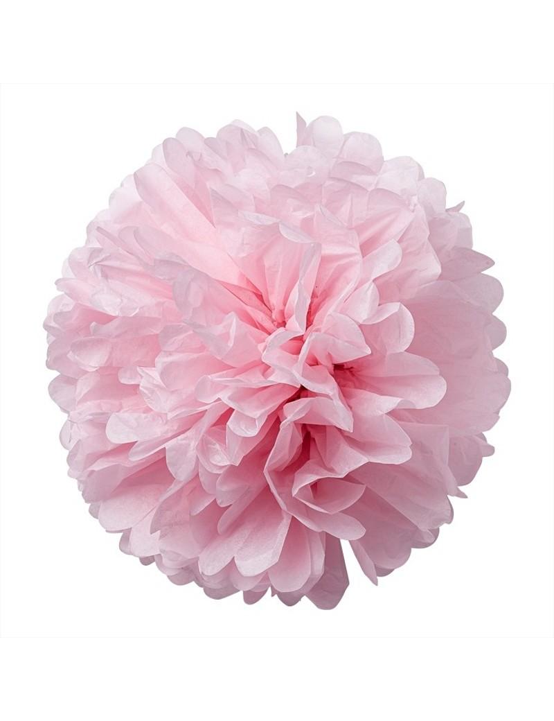 Pompons en papier de soir rose