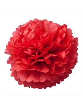 Pompons en papier de soie rouge