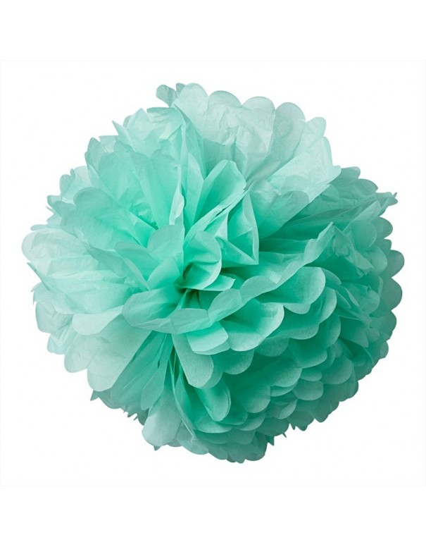 Pompons en papier de soie vert menthe
