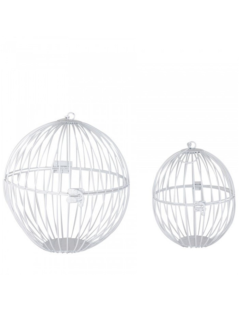 Cage ronde blanche à suspendre S/2