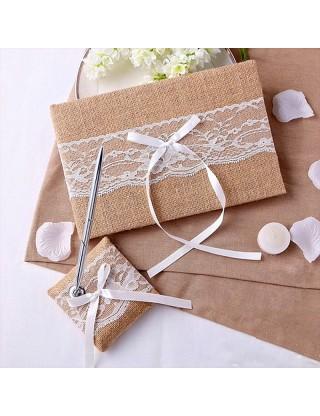 Set de mariage en jute et dentelle blanche