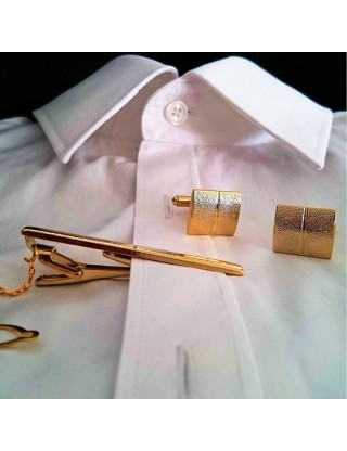 Kit boutons de manchette et pince à cravate moderne doré