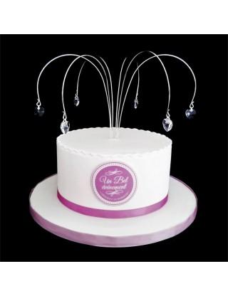 Haut de gâteau pics courbées à pampilles en coeur