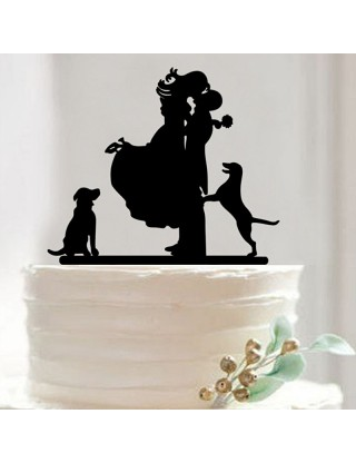 """Figurine de gâteau """"couple aux chiens"""""""
