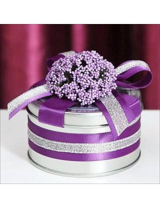 Contenant à dragées en métal & violet