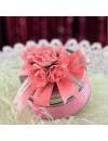 Contenant à dragées boite métal rose
