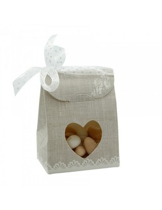 Boite à dragées avec cœur transparent en carton