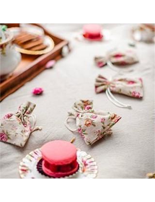 Pochettes à dragées fleurs romantique lot de 5